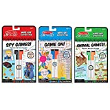 Melissa & Doug On The Go Wipe-Off Activity Pad Dry-Erase Games 3 Pack (Spy, Animal, Game On!)