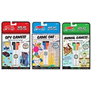 Melissa & Doug On The Go Wipe-Off Activity Pad Dry-Erase Games 3 Pack: Spy, Animal, Game On!