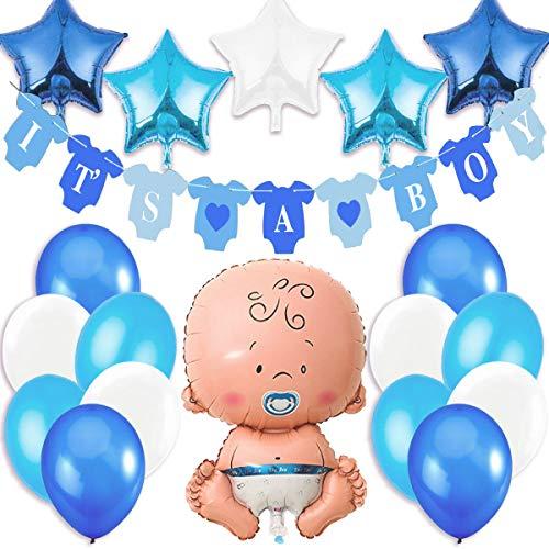 Jonami Decorazioni Festa Nascita Bambino. Festone é Maschio It's A Boy+1 Palloncino Blu a Bimbo,Neonato,Maschietto + 5 Palloncini a Stella +12 Palloncini. Accessori Battesimo e Baby Shower