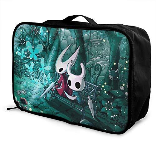 Hollow Knight Bolsa de equipaje portátil ligero de gran capacidad impermeable negro moda vacaciones viajes hombres mujeres