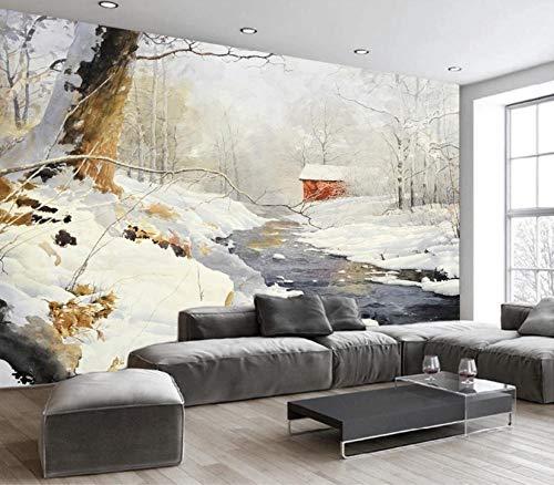 Murals Wallpaper Winter Snow Scene Wallpaper Wall Murals Living Room Bedroom Wall Home Decor-250cm(W) X 175cm(H)