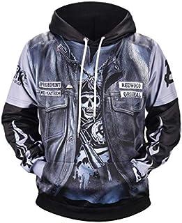 Fake two piece pullover hoodie cool printing round collar comfortable sweatshirt fall winter oversize sweatshirt for men