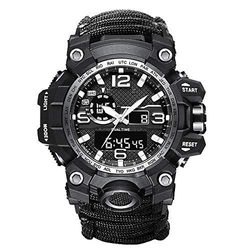 WTYU Relojes de Supervivencia Militar de Doble Pantalla al Aire Libre, Reloj electrónico Multifuncional Deportivo, Reloj de Macho Luminoso Impermeable Black