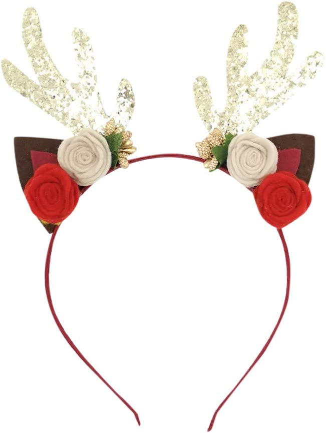 Christmas Headband for Adults Kids, Holiday Hair Band Hat for Flowers Horn Antlers Design, Christmas Party Head Clip, Christmas Headpiece, Xmas Hair Hoop Hair Accessories for Christmas Decorations