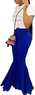 Women Mermaid Bell Bottom Pants Elastic Waist Solid Flare Leggings