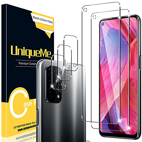 UniqueMe [2+3 Stück] Schutzfolie Kompatibel mit Oppo A74 5G [Nicht für A54] Folie, Kamera Panzerglas Bildschirmschutzfolie Oppo A74 5G [9H Festigkeit] Gehärtetem Glas HD [Anti-Bläschen] Panzerglas.