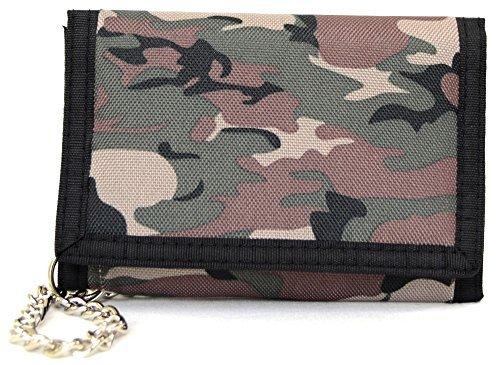 Geldbörse Portemonnaie für Herren und Jungen, Motiv: Camouflage, mit Kette, mehrfarbig - Dark Army - Größe: One size