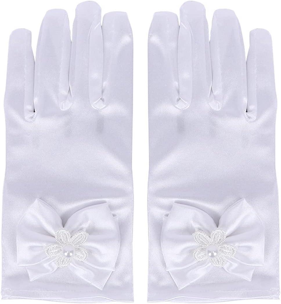CHENBOMY Party Gloves 1 Pair Lovely Elastic Girl Etiquette Performance Gloves Satin Pearl Flower Lace Bow Gloves Short Children Princess Dance Gloves (Color : White)