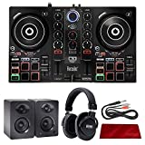 Hercules DJControl Inpulse 200 Compact DJ Controller + Monitors + Deluxe Accessory Bundle