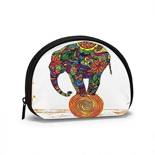 Divertido Elefante de pie en la Bola Animales The Arts Monedero pequeño para Mujer Bonita Bolsa de Monedas para niña Bolsa de Monedas Bolsa de Almacenamiento Cartera de Concha
