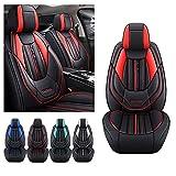 Juego de fundas para asiento de coche para Toyota Corolla 2005-2021, funda de cojín de piel sintética impermeable para vehículos, compatible con airbag (negro rojo)