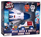 Astro Venture Space Shuttle Toy with 2 Astronauts, Mechanical Arm and Rover - Lights Up with Blast Off Sound Effects - Rover Compartments Open with The Push of a Button - Fun Space Toys for Kids