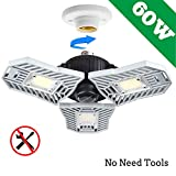 LED Garage Lights, 60W Adjustable Trilights Garage Ceiling Light, High Bay Deformable LED Corn Light Bulbs with 6000LM 6000K for Basement Cellar(No Motion Detection)