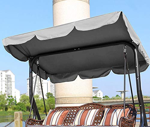 NOBRAND Waterproof Replacement Canopy for Swing Seat UV Resistant Swing For Outdoor Seat Hammock Cover Top Garden Great for Sun Shade (164 * 114 * 15cm, Grey)