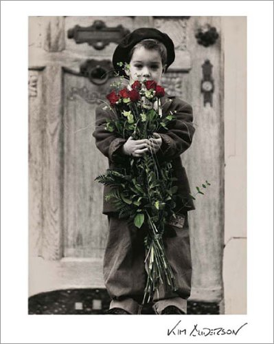 Kim Anderson Missing You (Boy with Red Roses) Tender Moments Children's Photography Poster Print (Decorative) 9.5x12