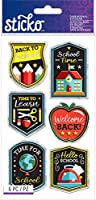 Sticko Dimensional Stickers-Back To School, 6/Pkg