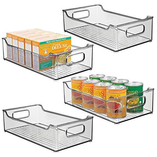 mDesign 4er-Set Aufbewahrungsbox für die Küche – stapelbare Kühlschrankkorb aus Kunststoff – Kühlschrankbox für Milchprodukte, Obst und andere Lebensmittel – rauchgrau