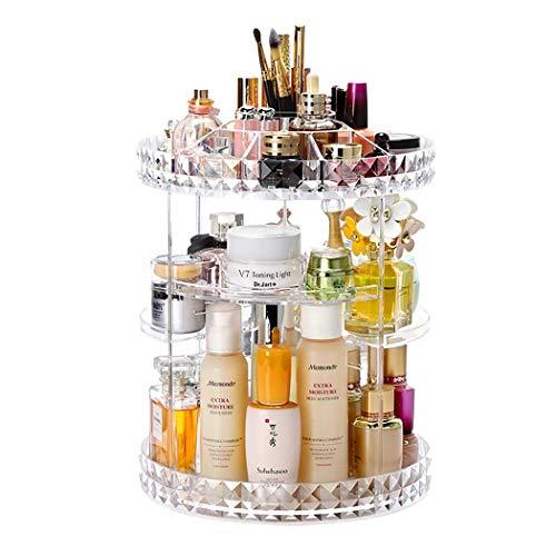 360 Degree Rotation Makeup Organizer Adjustable Multi-Function Acrylic Cosmetic Storage, Transparent Cosmetic Storage Box, Large Capacity, Fits Toner, Cream, Serums, Makeup Brushes, Lipsticks