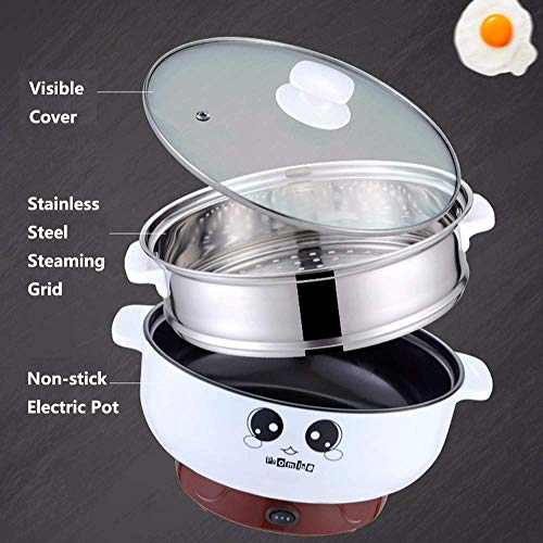 Electric Skillet Non-Stick Multifunctional Small Electric Grill Pot & Skillet Cooker for Cooking Rice Hotpot Simmer Steamed Eggs Frying 110V (2L with Steamer)