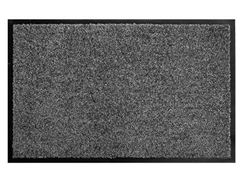 Schmutzfangmatte CLEAN – Anthrazit Grau 60x90 cm, Waschbare, Rutschfeste, Pflegeleichte Fußmatte, Eingangsmatte, Küchenläufer Sauberlauf-Matte, Türvorleger für Innen & Außen