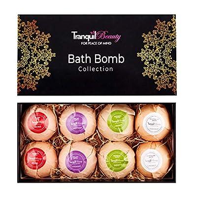 Bath Bombs | Luxurious Bath Bomb Spa Gift Set With Relaxing Essential Oils | Non-Irritating, Natural, Vegan Friendly, Cruelty-Free | 8 x 80g Large Bath Fizzies Make A Fun Present Idea.