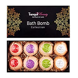 GIFT SET OF 8 BATH BOMBS: The Tranquil Beauty bath bomb collection offers a selection of 8 x 80g beautifully wrapped individual long lasting bath balls 4 UNIQUE FLAVOURS: Our set contains 2 of each unique scent colour and flavour including Coconut (P...