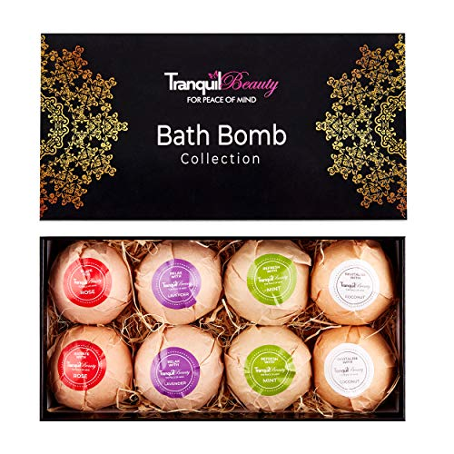 Bath Bombs | Luxurious Bath Bomb Spa Gift Set With Relaxing Essential Oils | Non-Irritating, Natural, Vegan Friendly, Cruelty-Free | 8 x 80g Large Bath Fizzies Make A Fun Present Idea.