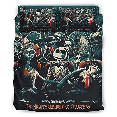 Qunrontan Antes de Navidad Sally-Jack Pesadilla Halloween Juego de cama de lujo funda de almohada para el hogar blanco 175 x 218 cm