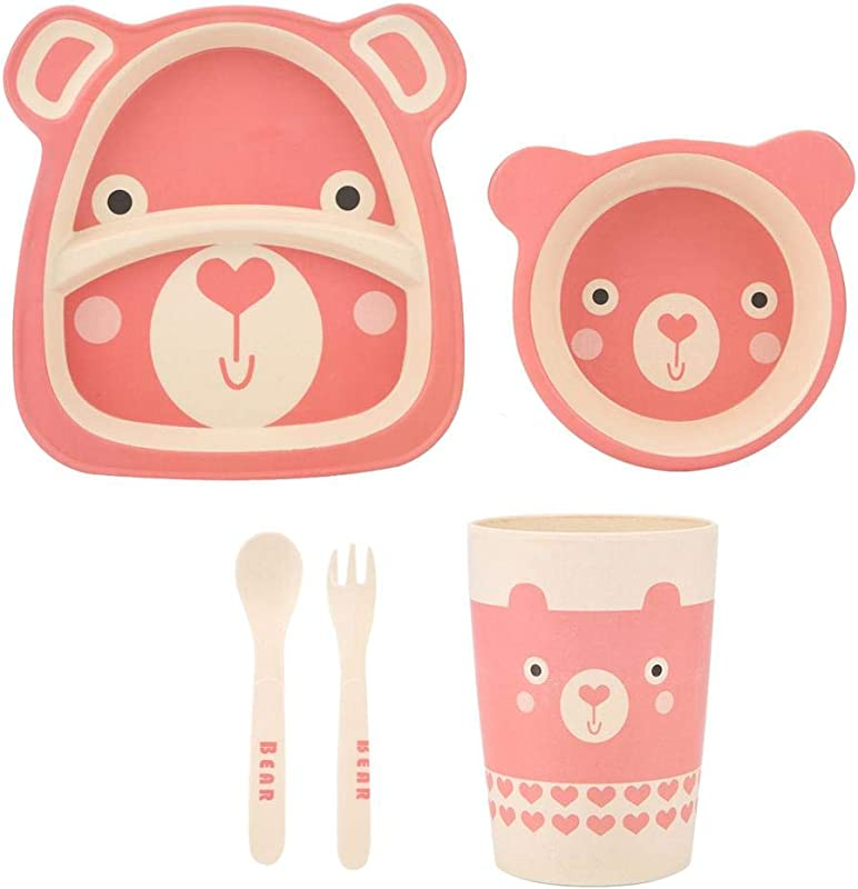 Children Tableware Set Cartoon Eco Friendly Bamboo Fiber Dish Plate Bowl Cup Spoon Fork Kit Baby Kids Toddler Dinnerware Bear