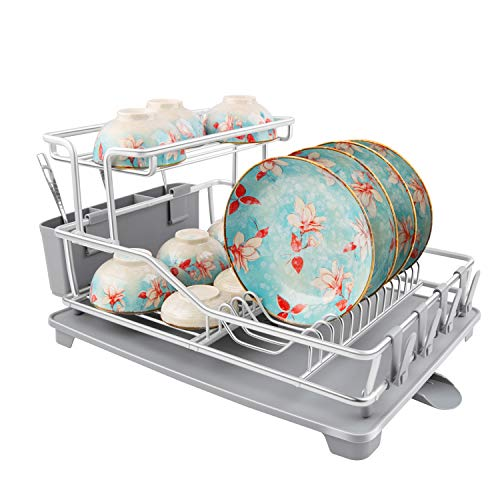 LHELPER Dish Drying Rack Aluminum 2 Tier Dish Rack with Removable Drainer Cutlery Holder amp Cup Holder Never Rust Large Capacity Dish Drainer Drying Rack for Kitchen