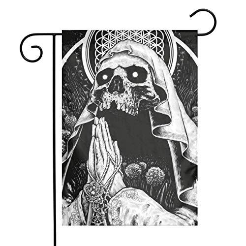 Zome Lag Orar Diablo Cráneo Negro Muerte Halloween Primavera Familia Único Jardín Bandera Bienvenido América Patio Decoración al Aire Libre Logotipo Vertical M