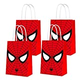16 PCS Party Bags for Spider Hero Gift Bags Kids Boys Superhero Themed Birthday Party Decorations Gift Goody Treat Candy Bags for Super Hero Birthday Party Supplies
