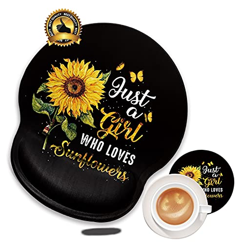 Mouse Pad with Wrist Support No-Slip Gel Black Mouse Pads Mat with Sunflower for Girl Cute Gaming Computer Mousepads Desk Accessories for Women Men