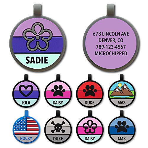 Love Your Pets Soundless Pet Tag - Designer Deep Engraved Silicone – Double Sided and Engraving Will Last - Pet ID Tags, Dog Tags, Cat Tags (Purple Grey, Flower)