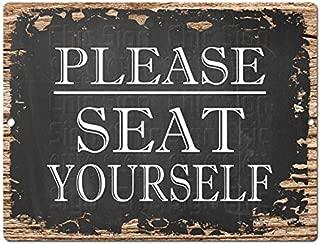 Please SEAT Yourself Tin Chic Sign Rustic Vintage Style Retro Kitchen Bar Pub Coffee Shop Decor 9