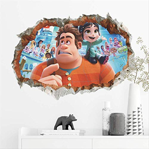 Cartoon Wrack-es-ralph Break Through Wall Stickers Bedroom Home Decor 3D Ralph Break The Internet Wall Sticker PVC Wall Art