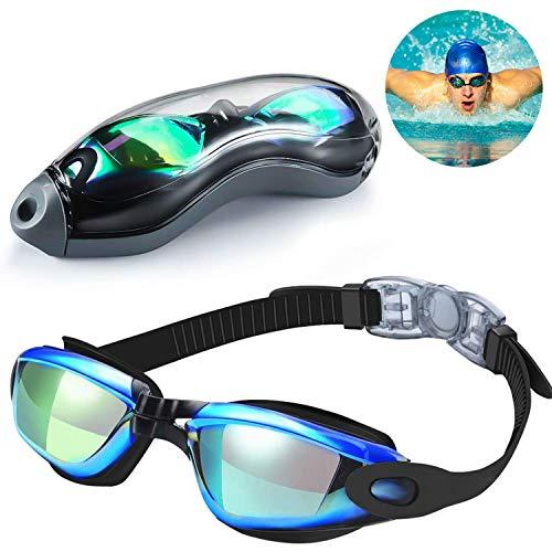 Funmo Gafas para Nadar para Adulto, Galvanoplastia HD Brillante sin Fugas antivaho y Anti-UV Visión de 180 Grados y Gafas de natación de Silicona Suave con Rayo Nasal