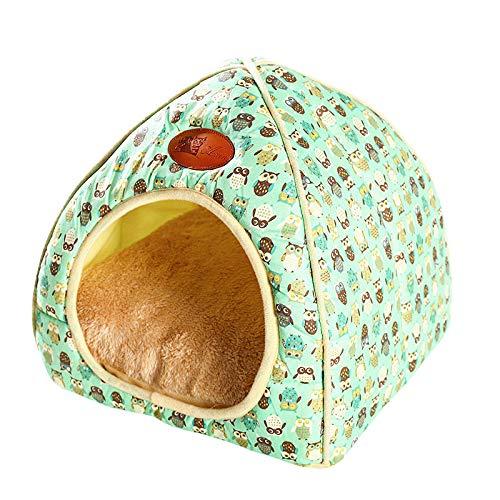 thematys Colchoneta Material de Felpa Cama de Almohada Lavable y Resistente a los arañazos para Perros y Gatos (M, Verde)