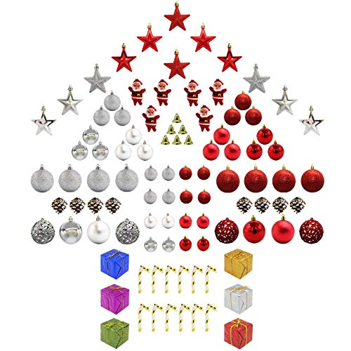100 Pcs Christmas Tree Ornaments Ball Ornaments Set with Shatterproof Christmas Ball Decoration Santa Claus Star Pandent for Xmas Tree, Reusable Hand-held Gift Package (Red)