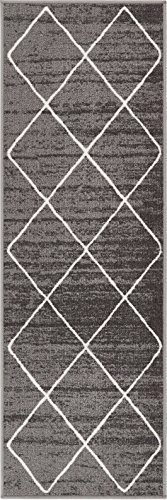 Well Woven Non-Skid/Slip Rubber Back Antibacterial 2x7 (2' x 7' Runner) Diamond Lattice Print Grey Thin Low Pile Machine Washable Indoor Outdoor Area Rug