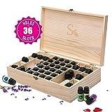 Skymore Boîte de Stockage, 36 boutuilles d'Huile Essentielle, Rangement Coffret en Bois, Pour 5ml-15ml d'huiles essentielles & Roll-on Huile, Box For Oil, Parfait Cadeau