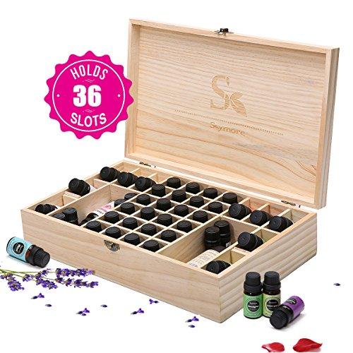 Ätherische Öl Box Essential Oil Organizer aus Holz 36 Fächer für Ätherische Öle Flaschen Schachtel