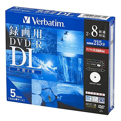バーベイタムジャパン(Verbatim Japan) 1回録画用 DVD-R DL CPRM 215分 5枚 ホワイトプリンタブル 片面2層 2-8倍速 VHR21HDSP5