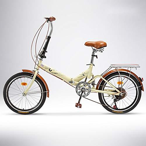 QIANG Bicicleta De Ciudad Plegable para Hombre 20 Pulgadas Peso Ligero 6 Velocidades Bicicleta para Adultos Estudiante Coche Plegable, Beige