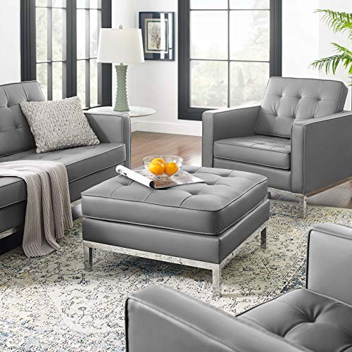 Modway Loft Tufted Button Faux Leather Upholstered Square Ottoman in Silver Gray
