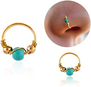 Greendou 10/12 mm Stainless Steel Turquoise Nostril Hoop Nose Earring Piercing Jewelry (12MM, Gold)