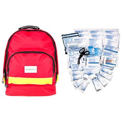*SANISMART Erste-Hilfe-Rucksack Office Rot Nylon mit DIN Füllung 13169*
