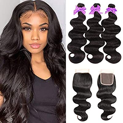 Miss CARA Body Wave Virgin Hair 3 Bundles with Closure (20 22 24+18) 100% Unprocessed Brazilian Body Wave Human Hair Double Weft with 4x4 Lace Closure Free Part Natural Color