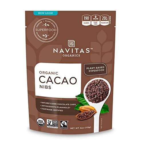 Navitas Organics Raw Cacao Nibs, 4 oz. Bag, 4 Servings — Organic, Non-GMO, Fair Trade, Gluten-Free