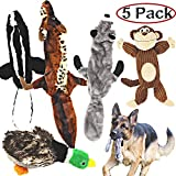 Jalousie 5 Pack Dog Squeaky Toys Three no Stuffing Toy and Two Plush...
